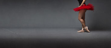 Κόκκινη πλευρική άποψη tutu και tiptoe στοκ φωτογραφία με δικαίωμα ελεύθερης χρήσης