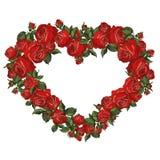 Κόκκινη ρομαντική καρδιά τριαντάφυλλων Στοκ φωτογραφία με δικαίωμα ελεύθερης χρήσης