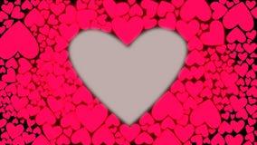 Κόκκινη ρόδινη μορφή καρδιών Κτύπος της καρδιάς όπως την κίνηση τυμπάνων Η ζωτικότητα της αναπήδησης καρδιών κτύπησε Άνευ ραφής β απεικόνιση αποθεμάτων