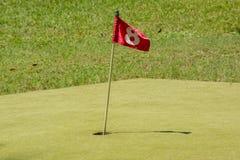 Κόκκινη σημαία στην τρύπα αριθμός 8 Στοκ εικόνα με δικαίωμα ελεύθερης χρήσης