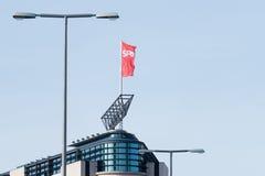 Κόκκινη σημαία του κόμματος SPD Στοκ φωτογραφία με δικαίωμα ελεύθερης χρήσης