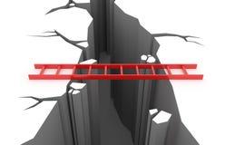Κόκκινη σκάλα πέρα από ένα κοίλωμα Στοκ Εικόνα
