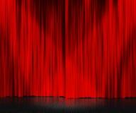 Κόκκινη σκηνική ανασκόπηση κουρτινών Στοκ Φωτογραφίες