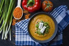 Κόκκινη σούπα κρέμας φακών που διακοσμείται με τα φρέσκα λαχανικά και τα πράσινα Χορτοφάγος έννοια r E στοκ εικόνες με δικαίωμα ελεύθερης χρήσης