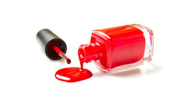 Κόκκινη στιλβωτική ουσία καρφιών στοκ φωτογραφία