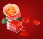 κόκκινη στιλβωτική ουσία καρφιών, λουλούδι roset στο κόκκινο υπόβαθρο Στοκ φωτογραφίες με δικαίωμα ελεύθερης χρήσης