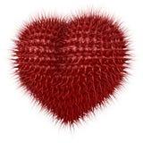 Κόκκινη, συγκεχυμένη καρδιά με το πλοκάμι όπως τις ακίδες Στοκ Φωτογραφίες
