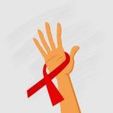 Κόκκινη συνειδητοποίηση Παγκόσμιας Ημέρας κατά του AIDS κορδελλών λαβής χεριών Στοκ Εικόνες