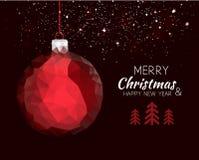 Κόκκινη σφαίρα διακοσμήσεων καλής χρονιάς Χαρούμενα Χριστούγεννας ελεύθερη απεικόνιση δικαιώματος