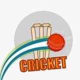 Κόκκινη σφαίρα με τα κολοβώματα wicket για το γρύλο διανυσματική απεικόνιση