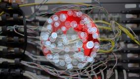 Κόκκινη σφαίρα που περιστρέφεται με τα εικονίδια απόθεμα βίντεο