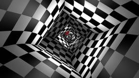 Κόκκινη σφαίρα σε μια τετραγωνική μεταφορά σκακιού σηράγγων σκακιού τρισδιάστατη ζωτικότητα Άνευ ραφής περιτύλιξη φιλμ μικρού μήκους