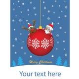 Κόκκινη σφαίρα Χριστουγέννων με τους διάσημους χαρακτήρες διανυσματική απεικόνιση