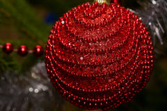 Κόκκινη σφαίρα Χριστουγέννων στην κινηματογράφηση σε πρώτο πλάνο δέντρων Στοκ εικόνες με δικαίωμα ελεύθερης χρήσης