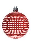 Κόκκινη σφαίρα Χριστουγέννων σύστασης κύκλων κιγκλιδωμάτων Στοκ Εικόνες