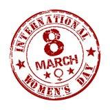 Κόκκινη σφραγίδα grunge με την ημέρα των διεθνών γυναικών κειμένων γραπτή μέσα 8 Μαρτίου Στοκ Εικόνες