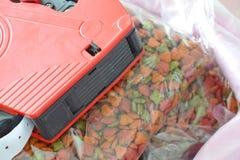 Κόκκινη τιμή ετικετών στα τρόφιμα κατοικίδιων ζώων στην τσάντα σάκων Στοκ Φωτογραφία
