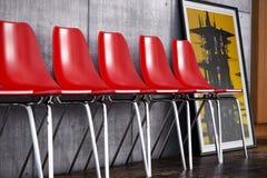 Κόκκινη τρισδιάστατη σύνθεση καρεκλών Στοκ Εικόνες