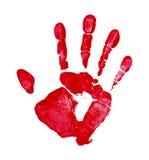 Κόκκινη τυπωμένη ύλη χεριών Στοκ Εικόνες