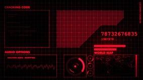 Κόκκινη φουτουριστική γραφική διεπαφή απόθεμα βίντεο