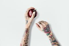 Κόκκινη φρέσκια γλυκιά Juicy έννοια φρούτων της Apple δερματοστιξιών Στοκ φωτογραφίες με δικαίωμα ελεύθερης χρήσης