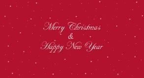 Κόκκινη Χαρούμενα Χριστούγεννα και έμβλημα καλής χρονιάς Στοκ Φωτογραφία