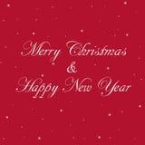 Κόκκινη Χαρούμενα Χριστούγεννα και έμβλημα καλής χρονιάς Στοκ Εικόνες