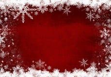 Κόκκινη χειμερινή ανασκόπηση με snowflakes στοκ εικόνα