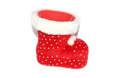 Κόκκινη χνουδωτή κάλτσα Χριστουγέννων Στοκ φωτογραφίες με δικαίωμα ελεύθερης χρήσης