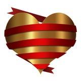 Κόκκινη χρυσή συλλογή καρδιών Στοκ Φωτογραφίες