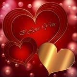 Κόκκινη χρυσή συλλογή καρδιών Στοκ φωτογραφία με δικαίωμα ελεύθερης χρήσης