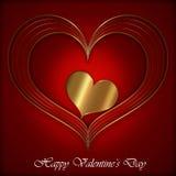 Κόκκινη χρυσή συλλογή καρδιών Στοκ Εικόνα
