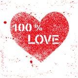 Κόκκινη ψεκασμένη διάνυσμα καρδιά με το κείμενο Στοκ Εικόνα