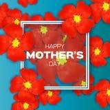 Κόκκινη Floral ευχετήρια κάρτα - ευτυχής ημέρα μητέρων - με τη δέσμη του υποβάθρου διακοπών Fower ανοίξεων διανυσματική απεικόνιση