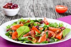 Κόκκινη healty σαλάτα ψαριών στο άσπρο πιάτο Στοκ Εικόνες