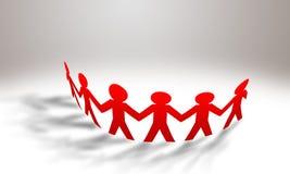 Κόκκινοι άνθρωποι εγγράφου που στέκονται σε έναν κύκλο διανυσματική απεικόνιση