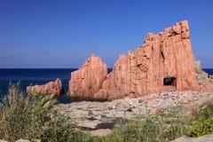 Κόκκινοι βράχοι Arbatax, Σικελία, Ιταλία Στοκ Εικόνες
