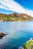 Κόκκινοι βράχοι Esterel όγκος-γαλλικό Riviera, Γαλλία Στοκ εικόνες με δικαίωμα ελεύθερης χρήσης