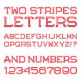 Κόκκινοι γωνιακοί επιστολές και αριθμοί δύο λωρίδων Στοκ Φωτογραφία
