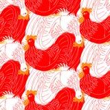 Κόκκινοι και άσπροι κόκκορες Στοκ Εικόνες