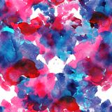 Κόκκινοι και μπλε άνευ ραφής λεκέδες watercolor σχεδίων στο άσπρο υπόβαθρο Στοκ εικόνες με δικαίωμα ελεύθερης χρήσης
