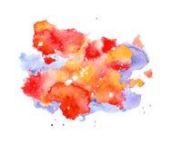 Κόκκινοι και μπλε παφλασμός Watercolor, σημείο, σημείο και λωρίδα που απομονώνονται στο άσπρο υπόβαθρο Στοκ φωτογραφία με δικαίωμα ελεύθερης χρήσης