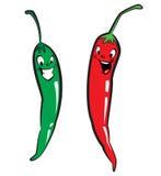 Κόκκινα και πράσινα καυτά πιπέρια χαρακτήρα τσίλι Στοκ εικόνα με δικαίωμα ελεύθερης χρήσης