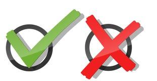 κόκκινοι και πράσινοι σημάδι και σταυρός ελέγχου ελεύθερη απεικόνιση δικαιώματος