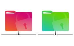 Κόκκινοι και πράσινοι φάκελλοι δικτύων με μια συρμένη κλειδαριά με τα έγγραφα Ελεύθερη απεικόνιση δικαιώματος
