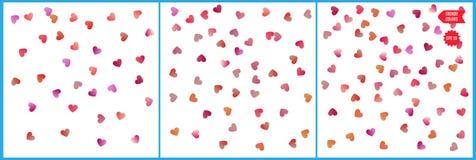Κόκκινοι και ρόδινοι εορτασμοί κομφετί καρδιών Απλό εορταστικό σύγχρονο σχέδιο Διάνυσμα διακοπών Σύνολο 3 σε 1 ελεύθερη απεικόνιση δικαιώματος