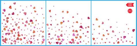 Κόκκινοι και ρόδινοι εορτασμοί κομφετί καρδιών Απλό εορταστικό σύγχρονο σχέδιο Διάνυσμα διακοπών Σύνολο 3 σε 1 απεικόνιση αποθεμάτων