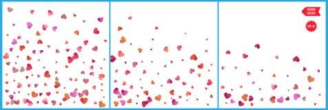 Κόκκινοι και ρόδινοι εορτασμοί κομφετί καρδιών Απλό εορταστικό σύγχρονο σχέδιο Διάνυσμα διακοπών Σύνολο 3 σε 1 διανυσματική απεικόνιση
