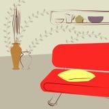 Κόκκινοι καναπέδες στο δωμάτιο Στοκ εικόνες με δικαίωμα ελεύθερης χρήσης
