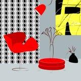 Κόκκινοι καρέκλες και πίνακας στο δωμάτιο Στοκ Εικόνες